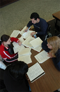 students studying at a table